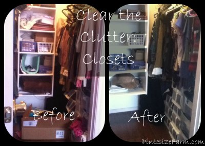 Clear the Clutter Challenge Week 1 - Before and after pictures of my closet. Steps and tips to clear the clutter!