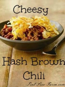Frugal and kid-friendly cheesy hash brown chili! Recipe at PintSizeFarm.com