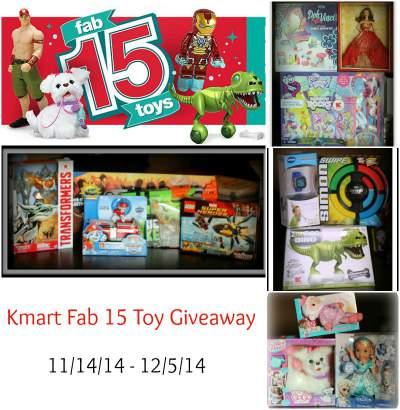 Christmas Giveaway - Kmart Fab 15 Toys ends 12/5/14. Found at www.PintSizeFarm.com