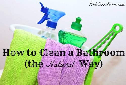 Great bathroom cleaning tips! How to clean a bathroom daily and deep cleaning product recipes. Found at PintSizeFarm.com